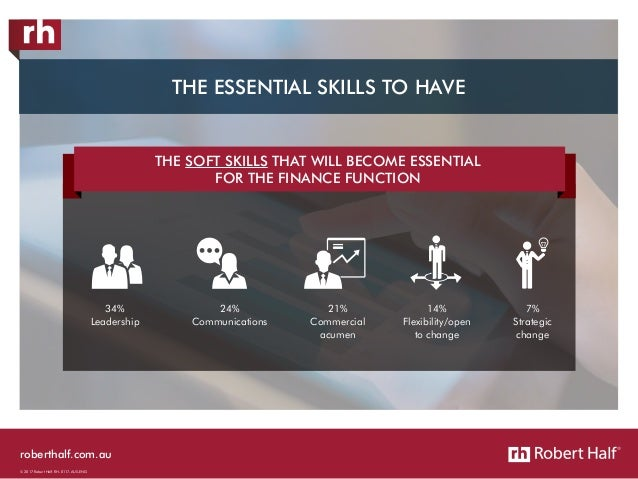 roberthalf.com.au © 2017 Robert Half. RH-0117-AUS-ENG 34% Leadership 24% Communications 21% Commercial acumen 14% Flexibil...