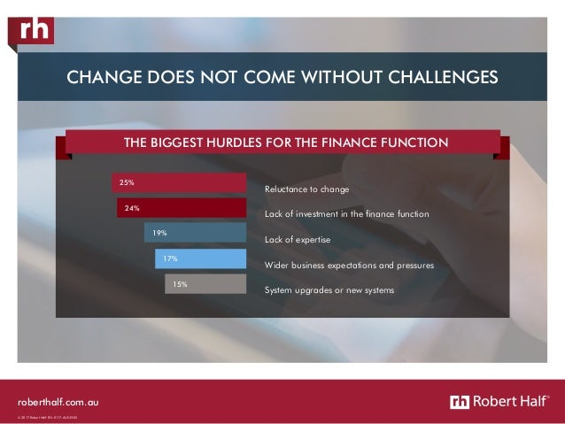 roberthalf.com.au © 2017 Robert Half. RH-0117-AUS-ENG THE BIGGEST HURDLES FOR THE FINANCE FUNCTION Reluctance to change La...