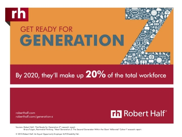 © 2015 Robert Half. An Equal Opportunity Employer M/F/Disability/Vet. roberthalf.com roberthalf.com/generation-z Sources: ...