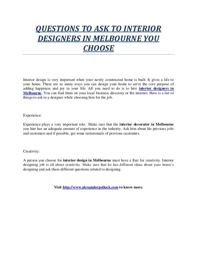 QUESTIONS TO ASK TO INTERIOR DESIGNERS IN MELBOURNE YOU CHOOSE Interior  Design Is Very Important When