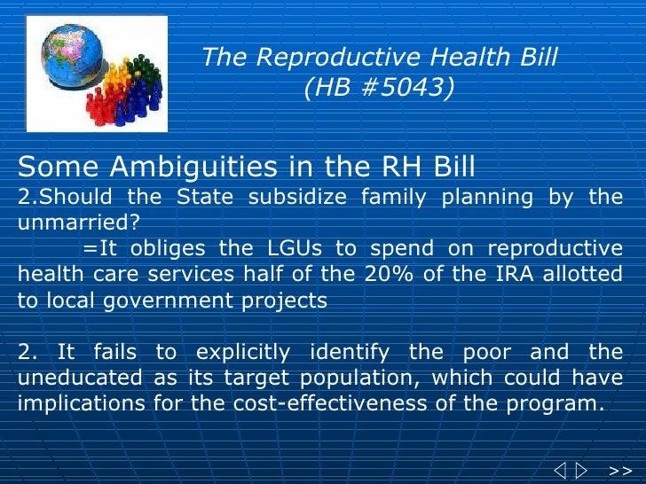 reproductive health bill advantages and disadvantages