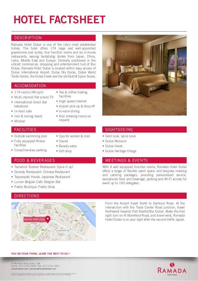 Ramada Hotel Dubai Fact Sheet