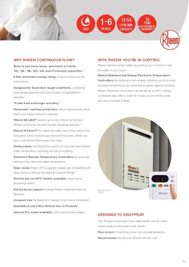 rheem hot water heater manual