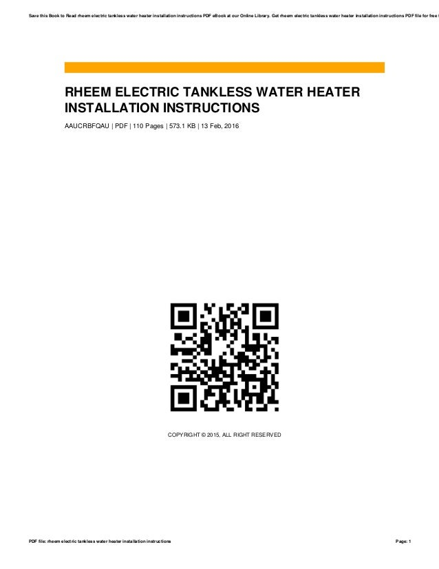 rheem electric tankless water heater installation instructions