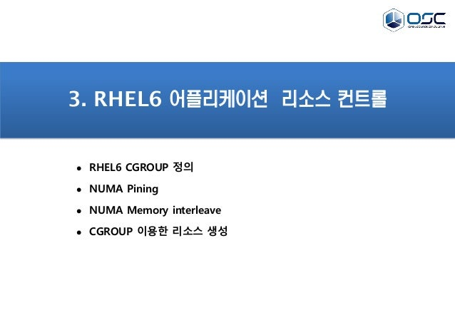 3. RHEL6 어플리케이션 리소스 컨트롤  RHEL6 CGROUP 정의  NUMA Pining  NUMA Memory interleave  CGROUP 이용한 리소스 생성
