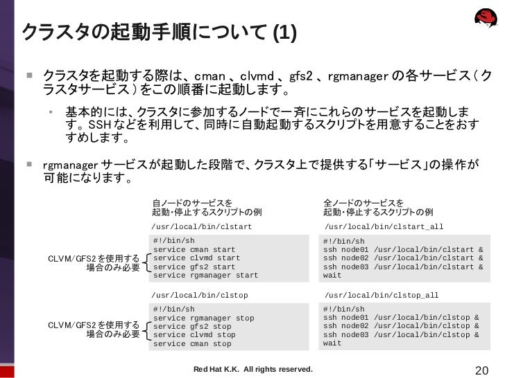 クラスタの起動手順について (1)    クラスタを起動する際は、 cman 、 clvmd 、 gfs2 、 rgmanager の各サービス ( ク    ラスタサービス ) をこの順番に起動します。    ●        基本的には、...
