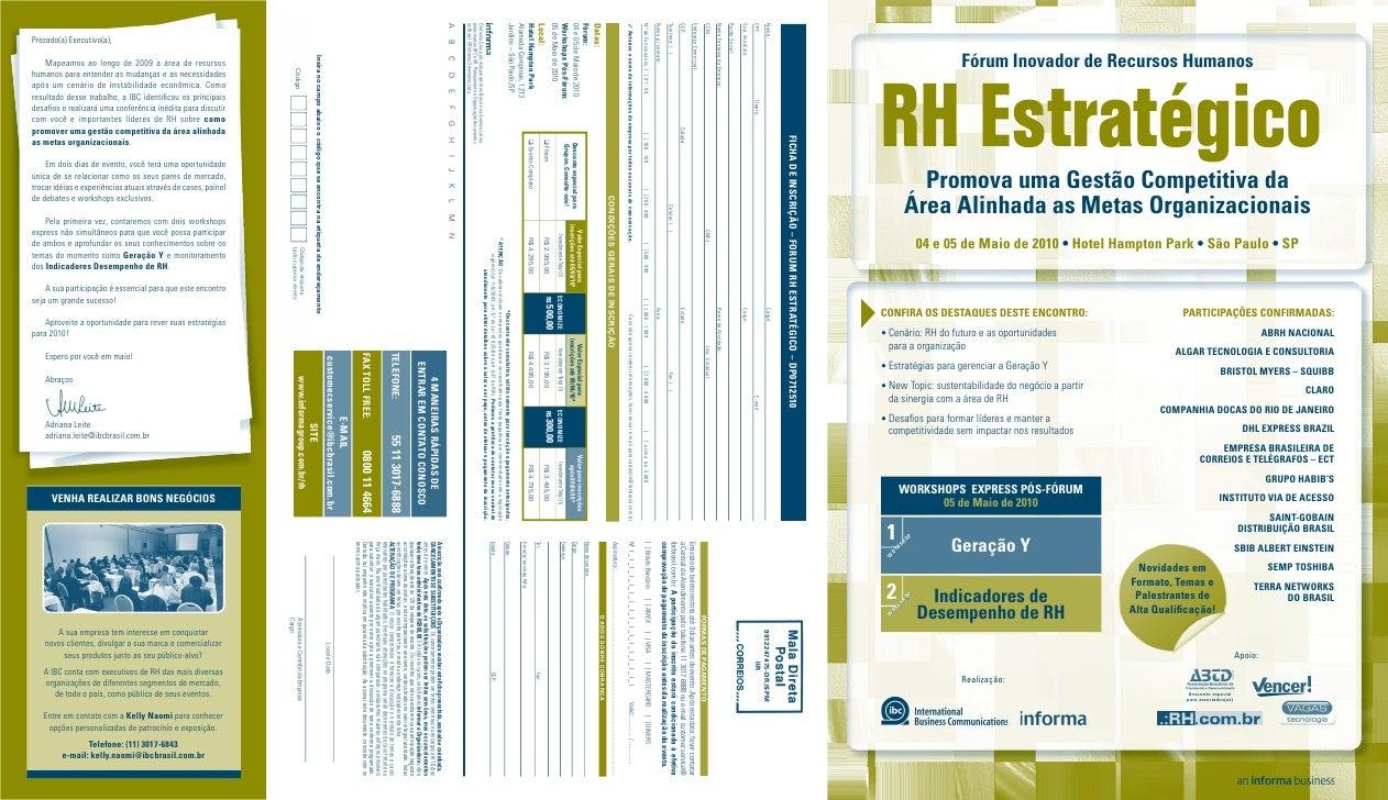 Fórum Inovador de Recursos Humanos    RH Estratégico          Promova uma Gestão Competitiva da        Área Alinhada as Me...