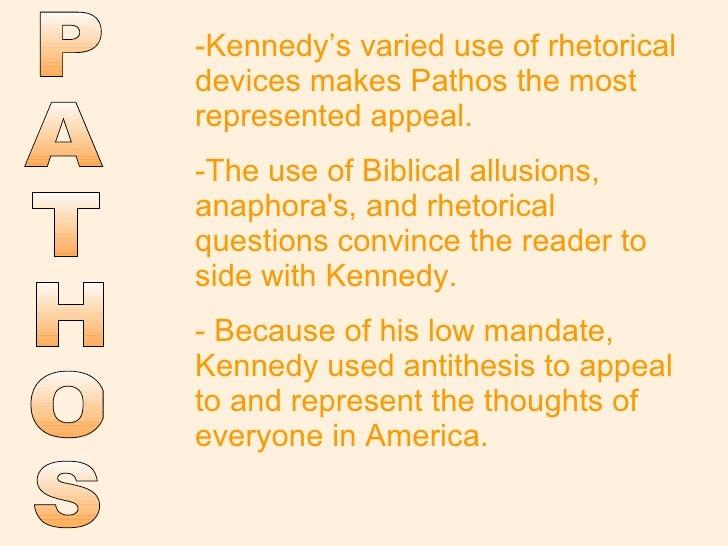 Bias rhetorical device argumentation kennedy inaugural address