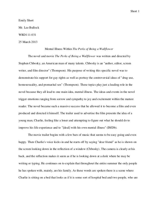 rhetorical analysis essay short 1emily shortmr lee bullockwrd111 03125 march 2013 mental illness within the