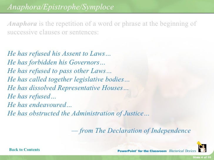 rhetorical devices used in the declaration of independence