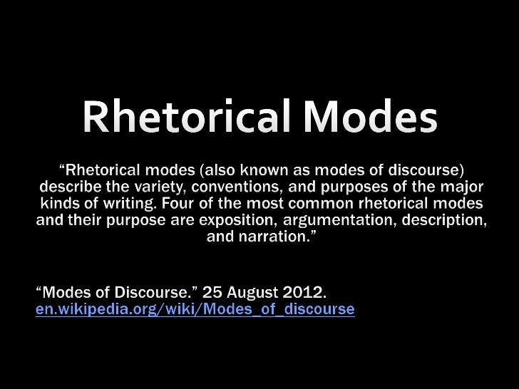 rhetorical modes Exercises the thesis statement is a fundamental element of writing regardless of what rhetorical mode you are writing in formulate one more thesis for each of the modes discussed in this chapter.
