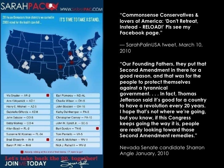 """"""" Commonsense Conservatives & lovers of America: 'Don't Retreat, Instead - RELOAD!' Pls see my Facebook page.""""  —  SarahPa..."""