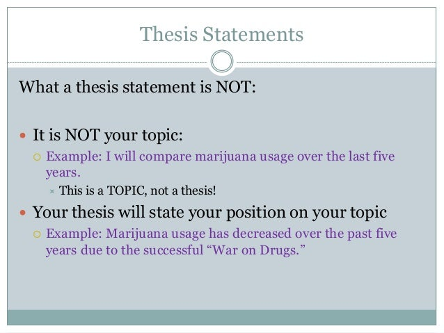 Thesis statement about drugs