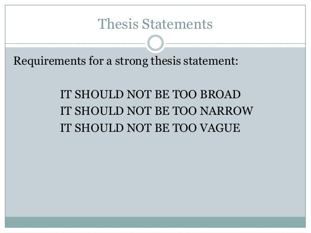 Narrow thesis statements