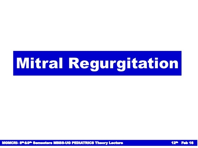 Rheumatic Mitral Regurgitation Natural History