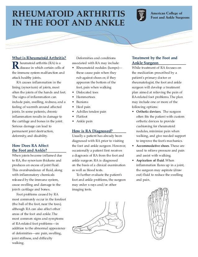 RHEUMATOID ARTHRITISIN THE FOOT AND ANKLEWhat is Rheumatoid Arthritis?                Deformities and conditions          ...
