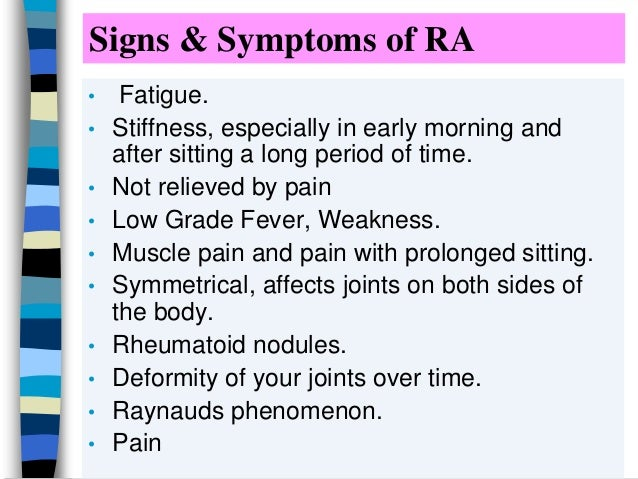 signs and symptoms of rheumatism