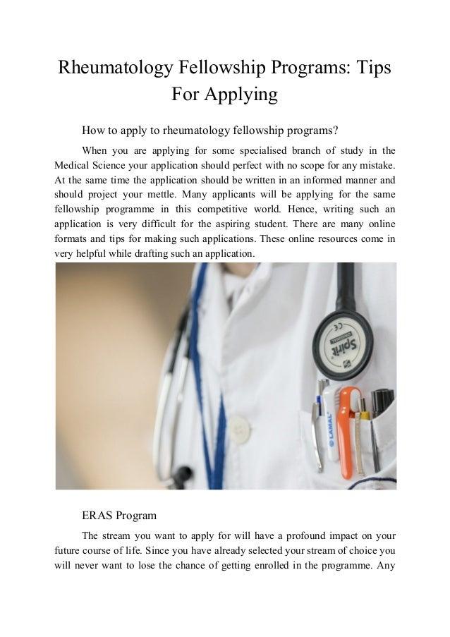 Rheumatology Fellowship Programs: Tips for Applying