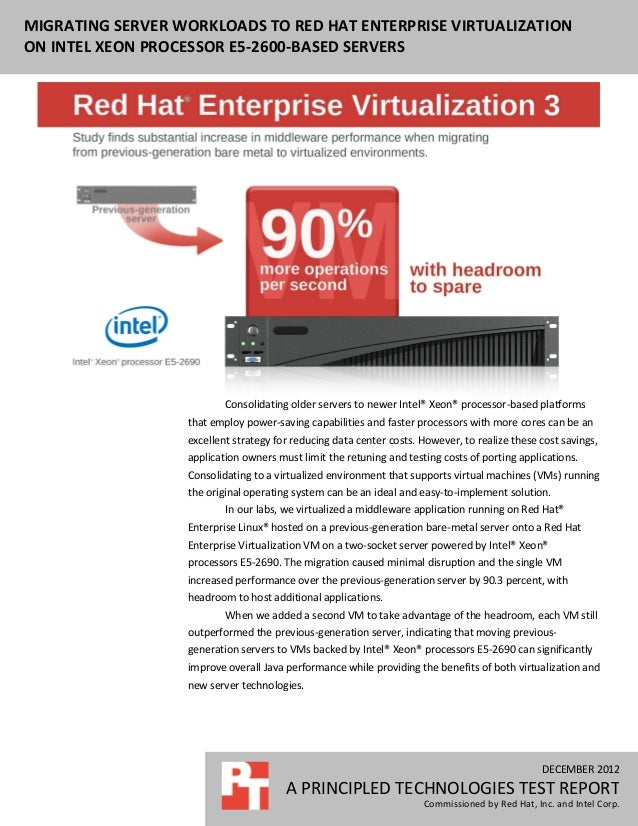 MIGRATING SERVER WORKLOADS TO RED HAT ENTERPRISE VIRTUALIZATION MIGRATING MIDDLEWARE APPLICATIONS TO INTEL XEON PROCESSOR ...