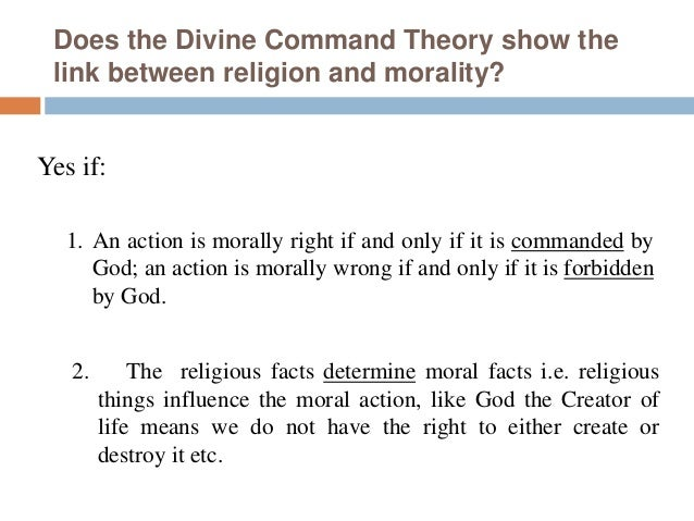 divine command theory essay example For countless centuries a debate has quietly raged among philosophers as to the validity of the divine command theory this moral framework is erected within theistic constraints holding that the morality of man is directly dependent upon a living god.