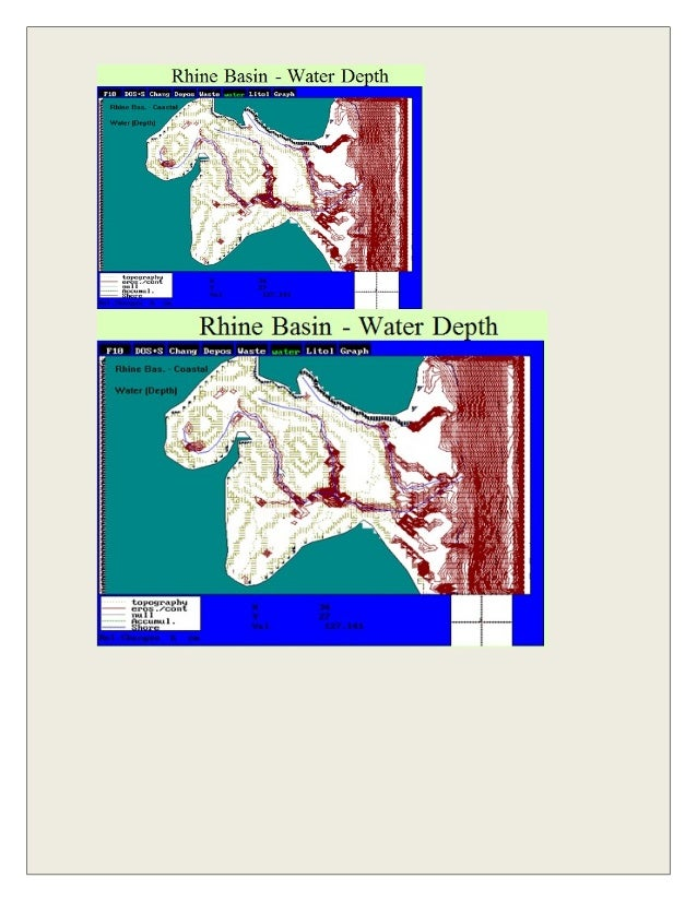 Rhine Basin and Nearby Coastal zone. Red - contours of water depth. View of the Basin during sea level raising (only scena...