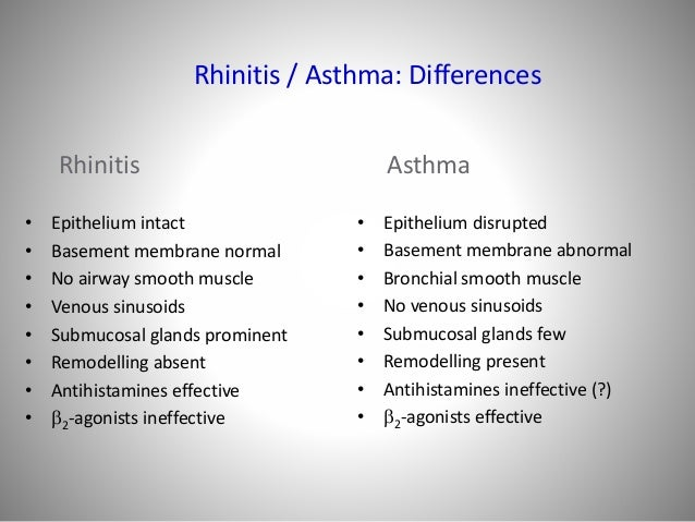 Rhinitis And Asthma Similarities And Differences