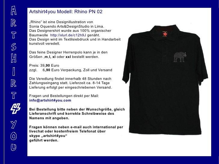 """A   Artshirt4you Modell: Rhino PN 02  R   """"Rhino"""" ist eine Designillustration von     Sonia Oquendo Arts&DesignStudio in L..."""