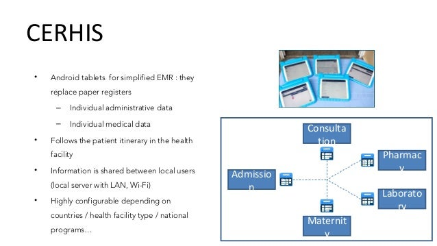 CERHIS • Patient medical history, from successive visits (EMR) • Use information for billing • Dashboards and Excel export...