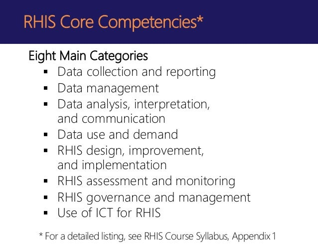 rhis curriculum  standardizing core competencies and