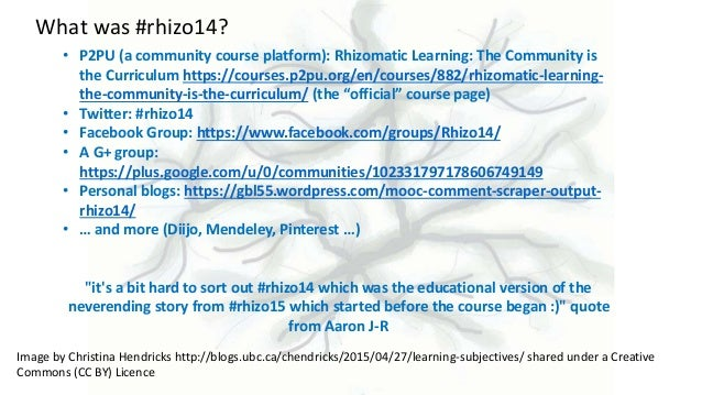 A herd of freely associating, autonomous cats: how a Facebook group helped turn a bunch of cMOOC participants into a learning community Slide 3