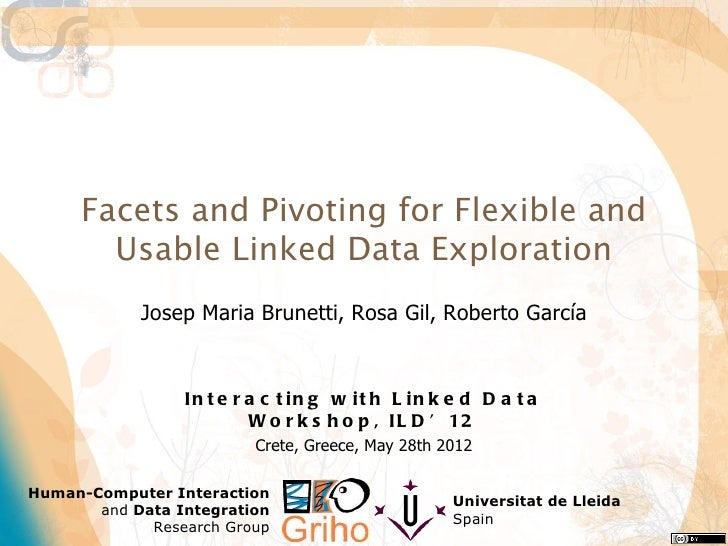 Facets and Pivoting for Flexible and       Usable Linked Data Exploration            Josep Maria Brunetti, Rosa Gil, Rober...