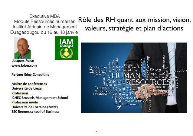 Rôle des RH quant aux mission, vision, valeurs, stratégie et plan d'actions   Jacques  Folon   www.folon.com   Par...