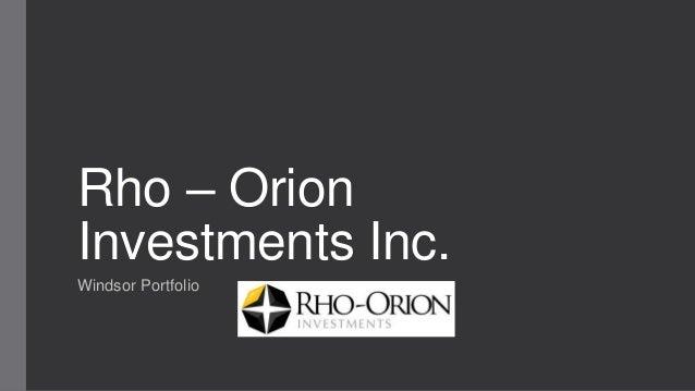 Rho – Orion Investments Inc. Windsor Portfolio