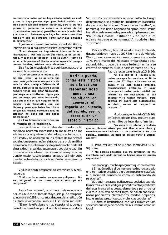 """Voces Recobradas 25 Bibliografía ARENDT, H.: """"La condición Humana."""" Barcelona, Paidos, 1974. ARIES, P: """"Ensayos sobre la M..."""