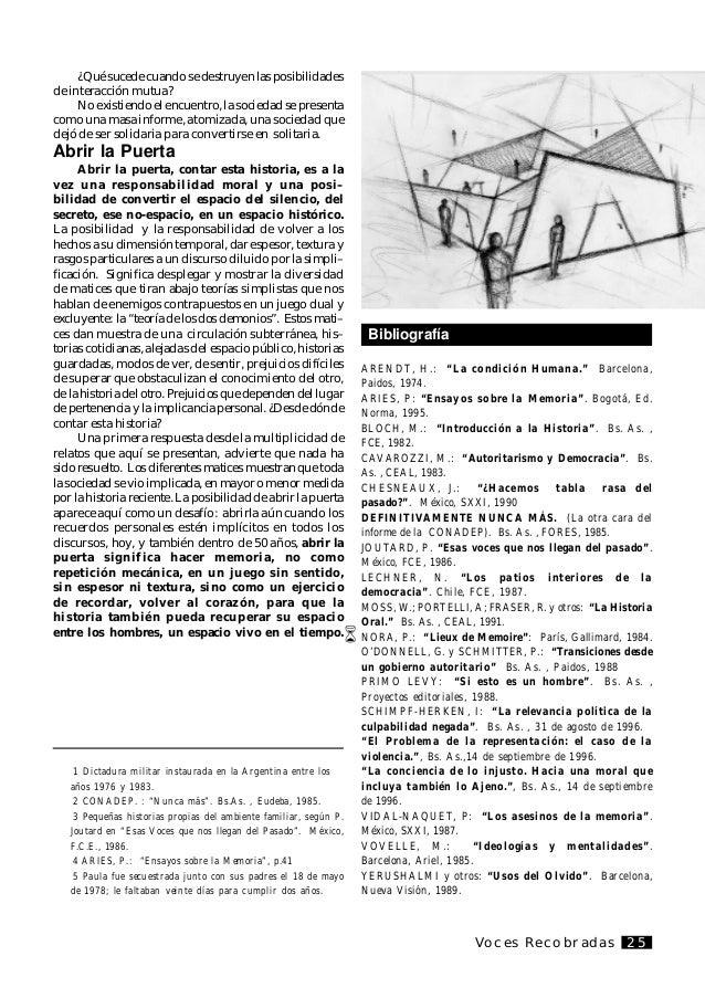 Voces Recobradas26 Une exploration à propos de la conformation du «privé» entre 1976 et 1982 et des différentes représenta...