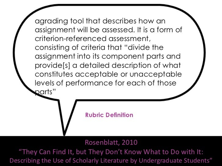 Finding Sample Rubrics• American Association of Colleges and  Universities VALUE Rubrics• Search Merlot for Rubrics for mo...