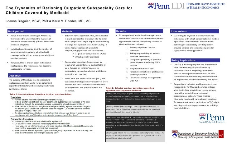 The Dynamics of Rationing Outpatient Subspecialty Care for  Children Covered by Medicaid Joanna Bisgaier, MSW, PhD & Karin...