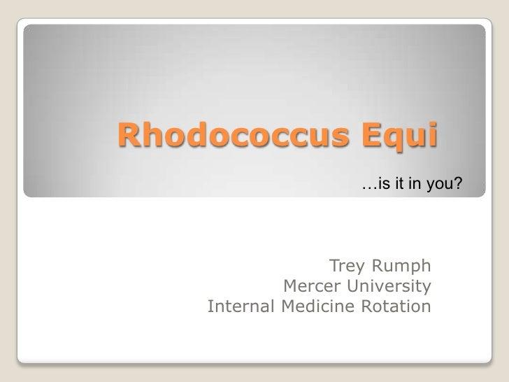 Rhodococcus Equi                      …is it in you?                      Trey Rumph              Mercer University     In...