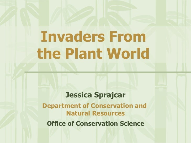 Invaders From    the Plant World Jessica Sprajcar Department of Conservation and  Natural Resources Office of Conservation...