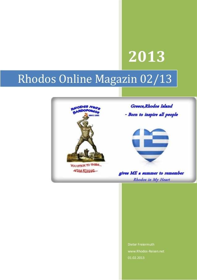 2013Rhodos Online Magazin 02/13                   Dieter Freiermuth                   www.Rhodos-Reisen.net               ...