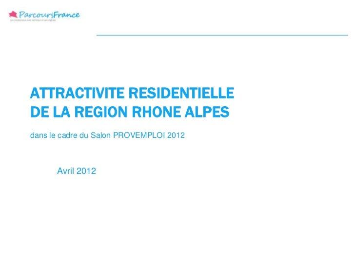 ATTRACTIVITE RESIDENTIELLEDE LA REGION RHONE ALPESdans le cadre du Salon PROVEMPLOI 2012      Avril 2012