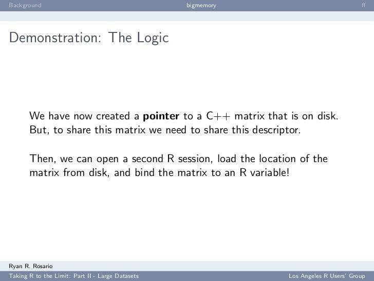 Background                                        bigmemory                           ff     Demonstration: The Logic      ...