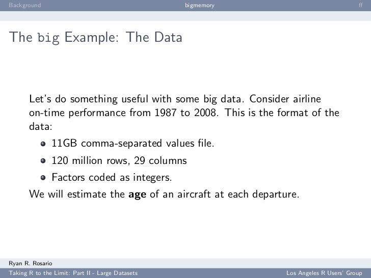 Background                                        bigmemory                           ff     The big Example: The Data     ...