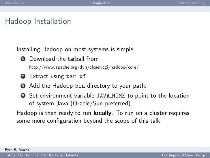 Map/Reduce                                        mapReduce                 HadoopStreaming     Hadoop Installation       ...