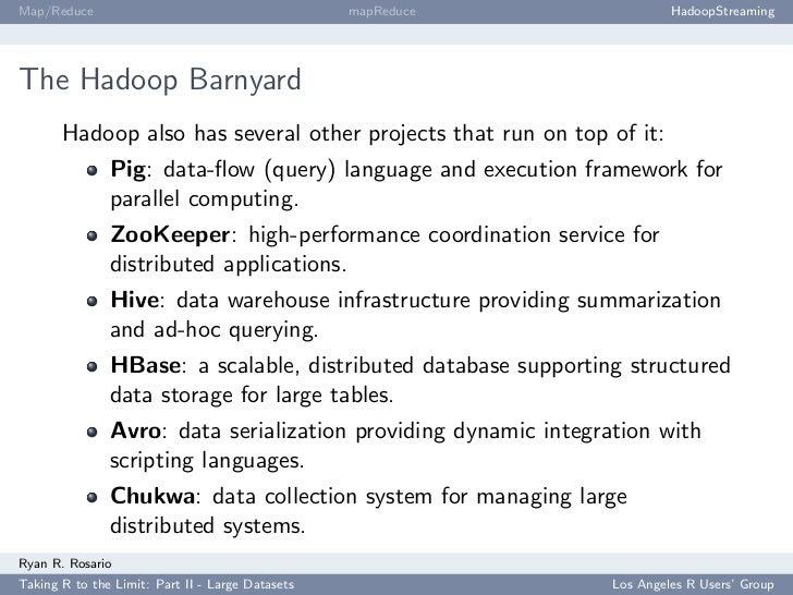Map/Reduce                                        mapReduce              HadoopStreaming     The Hadoop Barnyard        Ha...