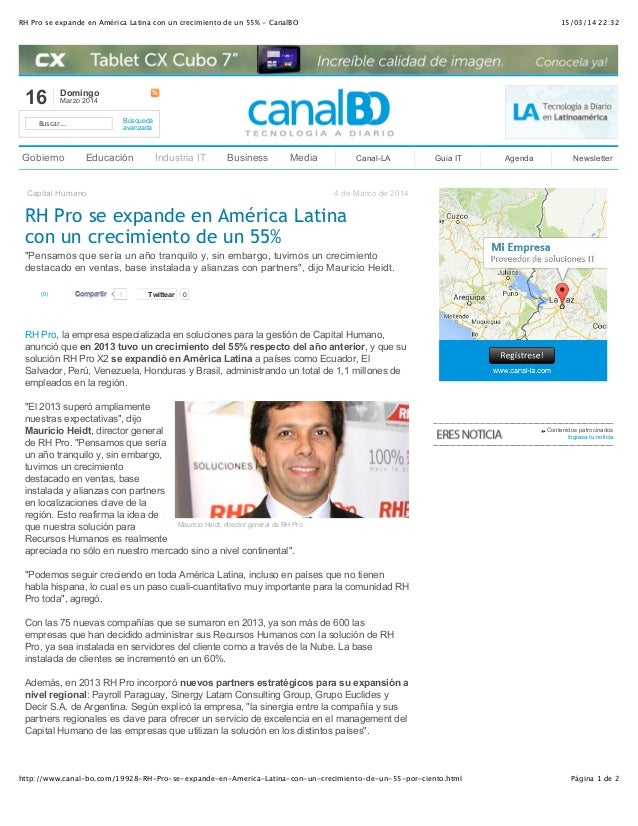 15/03/14 22:32RH Pro se expande en América Latina con un crecimiento de un 55% - CanalBO Página 1 de 2http://www.canal-bo....