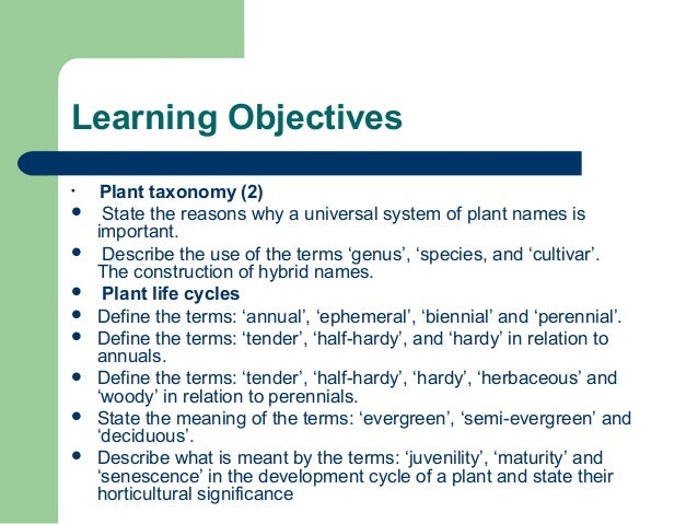 Learning Objectives  Plant taxonomy (2)  State the reasons why a universal system of plant names is important.  Describ...