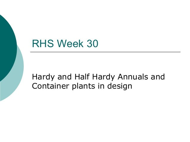 RHS Week 30 Hardy and Half Hardy Annuals and Container plants in design