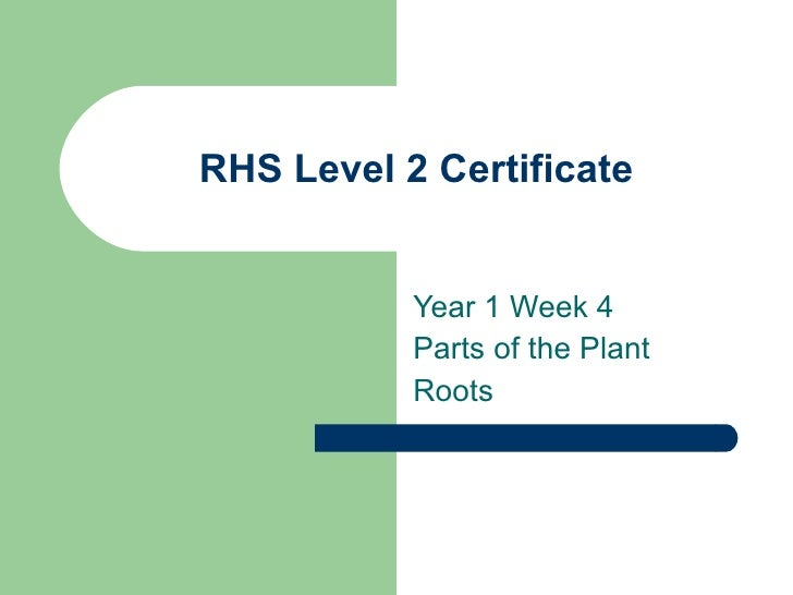 RHS Level 2 Certificate Year 1 Week 4  Parts of the Plant Roots