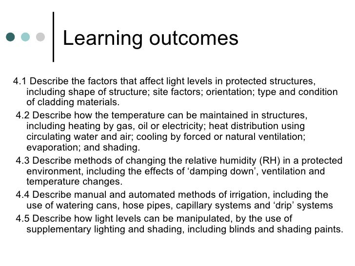 Learning outcomes <ul><li>4.1 Describe the factors that affect light levels in protected structures, including shape of st...